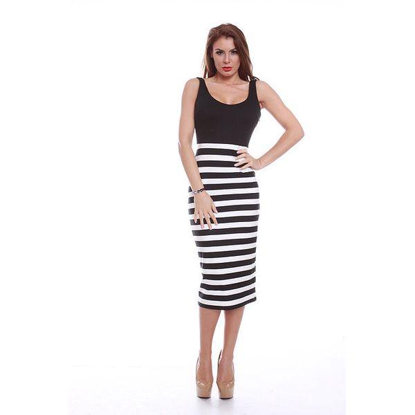 Dámské šaty s černo-bíle pruhovanou sukní Ines