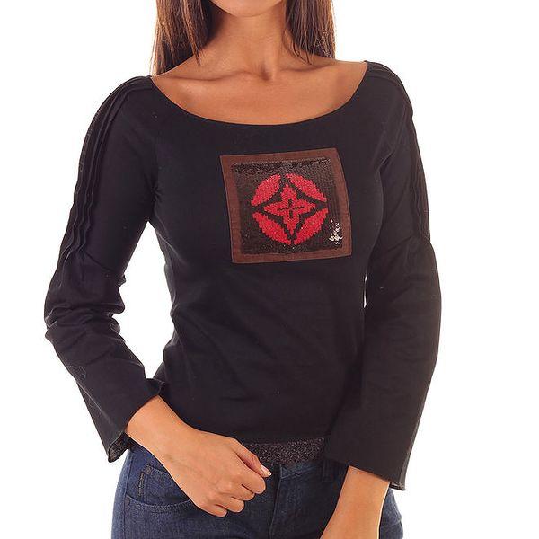 Dámské černé tričko s dlouhými rukávy a flitrovou aplikací Custo Barcelona