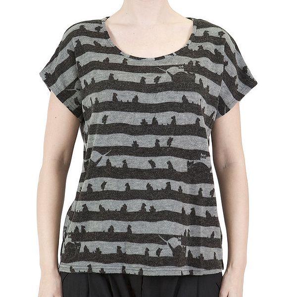 Dámské šedo-černé pruhované tričko s kočičkami Ginger and Soul