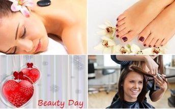 4hodinový BEAUTY DAY pro ženy - střih, masáž, manikúra i pedikúra. Rozmazlující dárek pro ženy.
