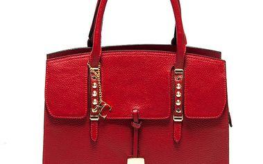 Dámská červená kabelka z kůže s kovovými detaily Renata Corsi