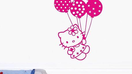 Samolepka na stěnu Hello Kitty letí, růžová