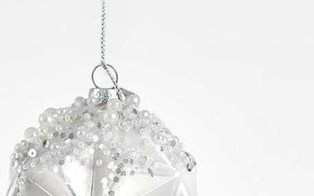 Set skleněných koulí Ball in White, 12 ks