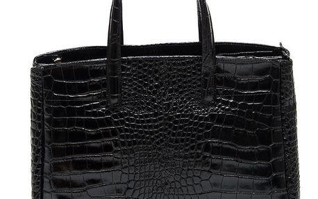 Dámská černá kabelka se vzorem krokodýlí kůže Renata Corsi