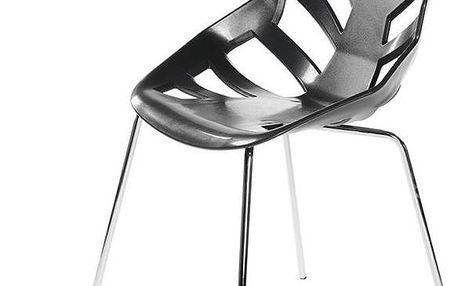 Set 2 černých židlí Ninja, chromové nohy