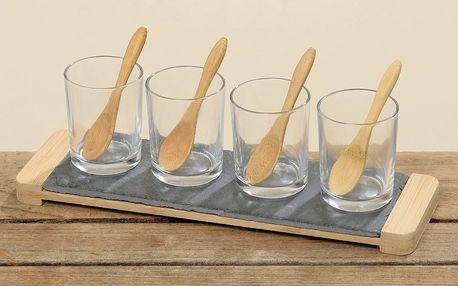 Set skleniček se lžičkami a podnosem, 4 ks
