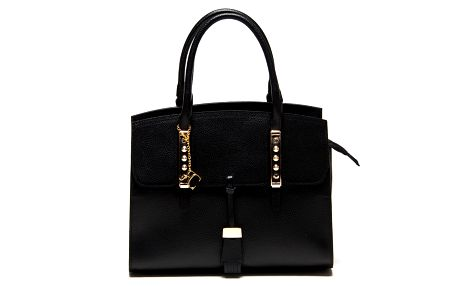 Dámská černá kabelka z kůže s kovovými detaily Renata Corsi