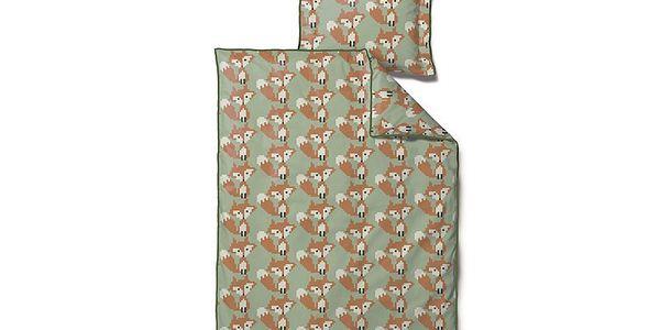 Dětské povlečení Beaded Fox Green, 100x140 cm