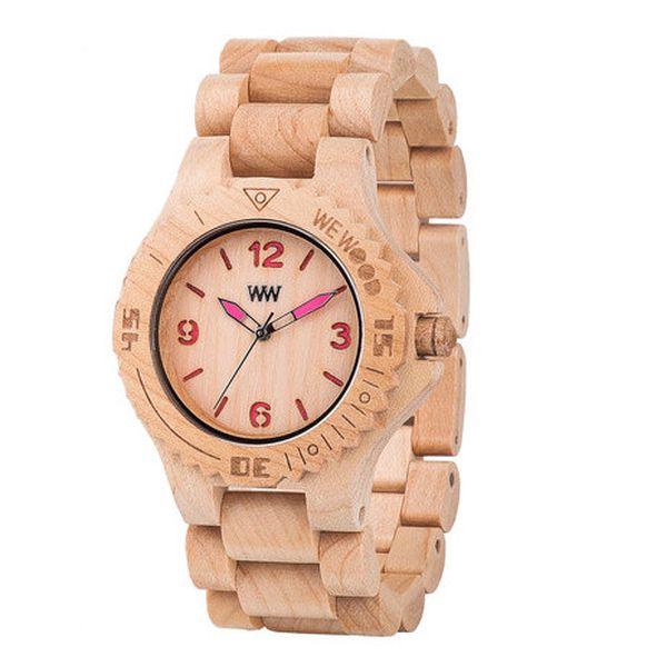 Dřevěné hodinky Kale Beige and Pink