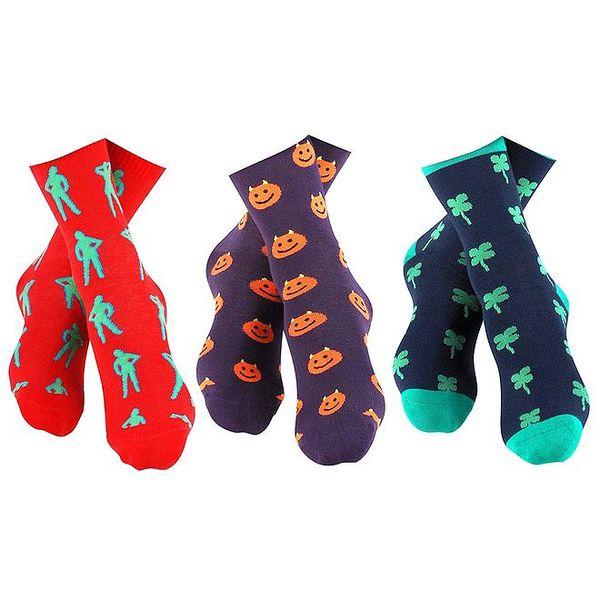 3 páry barevně vzorovaných pánských ponožek Happy Socks - se slečnou, smajlíkem a čtyřlístkem