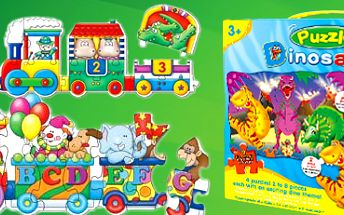 Dětské kvalitní puzzle vláčky a nebo dinosauři! Hra pro všechny děti.