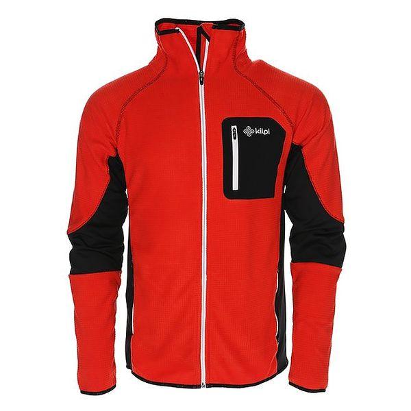 Pánská červená mikina/bunda s černou náprsní kapsou Kilpi