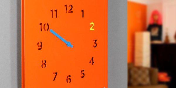 Nástěnné hodiny Wall Clock, oranžové