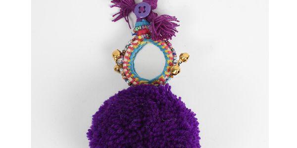 Přívěsek na klíče Pom Pom Purple