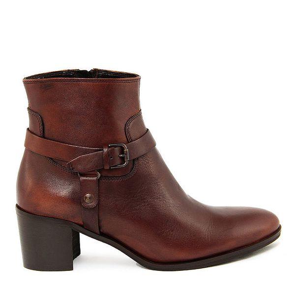 Dámské koňakově hnědé kotníkové boty na zip Paola Ferri