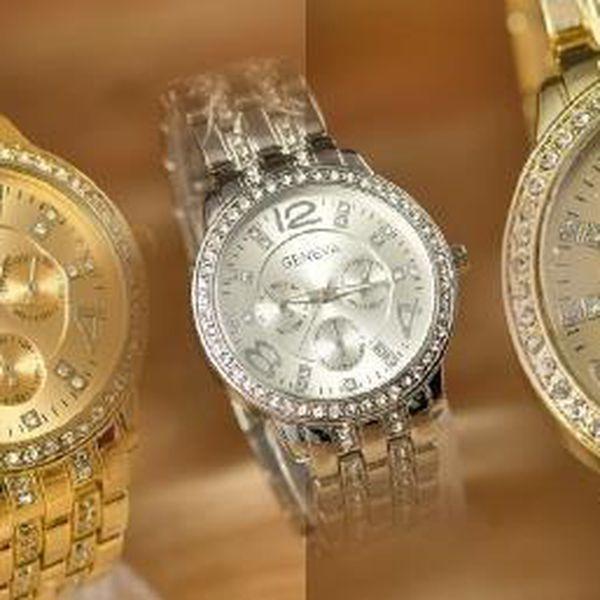 Dámské luxusní hodinky Geneva budou i nádherným šperkem. Jsou osázeny zářícími krystalky a mají vkusný a elegantní design.