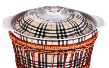 Porcelánový hrnec v košíku Old Times, 2,5 l,