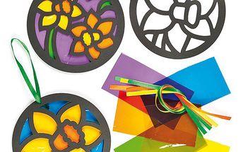 Dekorace s efektem barevného skla - narcis (6 ks)