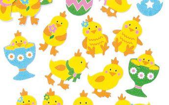 Velikonoční plstěné samolepky kuřata (90 ks)