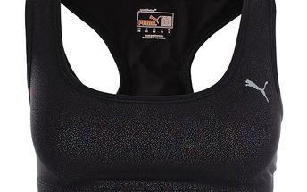 Dámská černá sportovní podprsenka s metalickým vzorem Puma