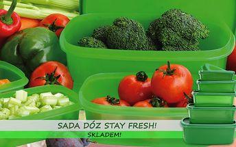 Sada pěti dóz Stay Fresh za nejnižší cenu! Pořiďte si šikovného pomocníka do kuchyně, díky dózám budou potraviny nejen čerstvé, ale i přehledně a úsporně uskladněné! Zboží je pro vás připraveno IHNED K ODBĚRU: osobně na Praze 1 nebo zaslání poštou!