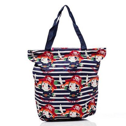 Dámská pruhovaná nákupní taška s pirátem Rosalita McGee