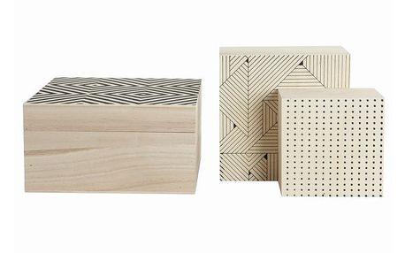 Set dřevěných boxů Geometry, 3 ks