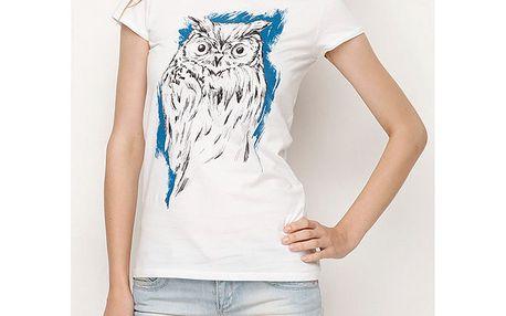 Dámské bílé tričko se sovou Dogo