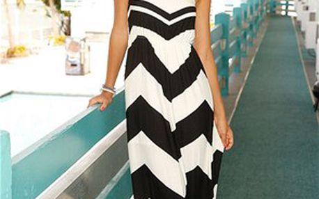 Trendy dlouhé šaty, černá/bílá