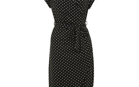 Dámské černé puntíkaté šaty Uttam Boutique