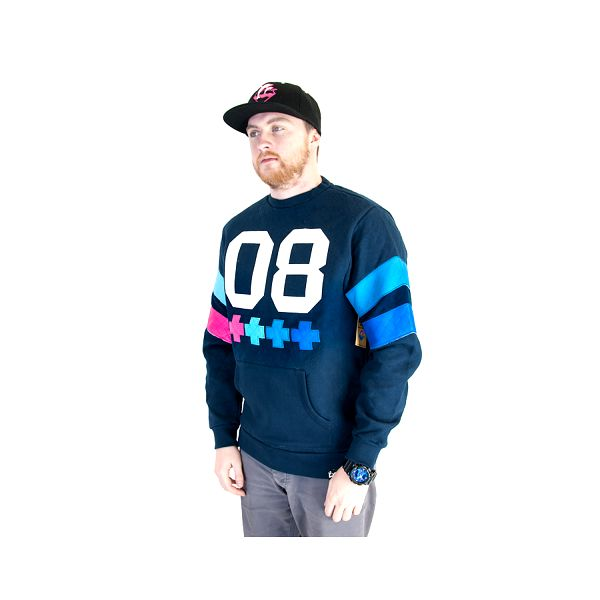 Mikina Pink Dolphin Quilted Cross Crewneck Navy