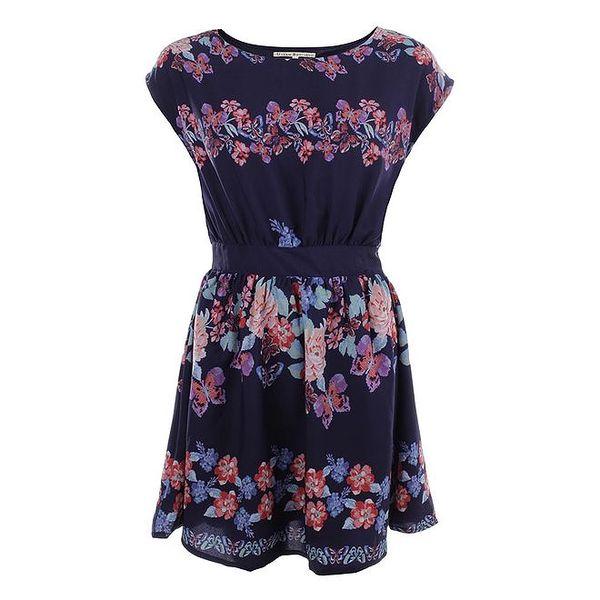 Dámské tmavě modré šaty s barevnými květy Uttam Boutique
