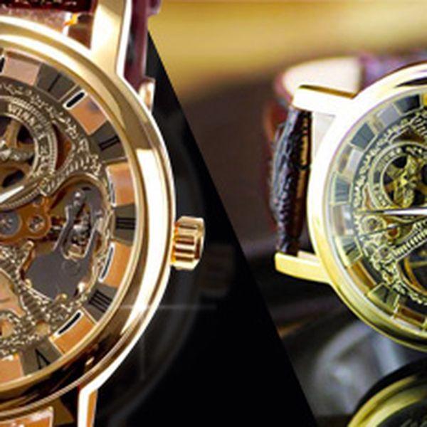 Luxusní unisex mechanické hodinky Winner ve zlaté barvě!