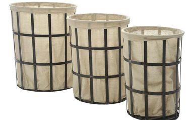 Set košíků Black Linen, 3 ks