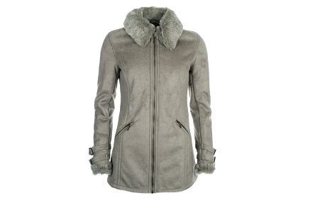 Dámský šedý kabát s kožíškem u krku Phard