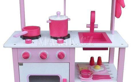 KidsHome Dřevěná kuchyňka s příslušenstvím 100cm růžová