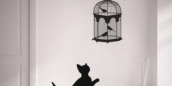 Samolepka na zeď Kočka a ptáci, 70x50 cm