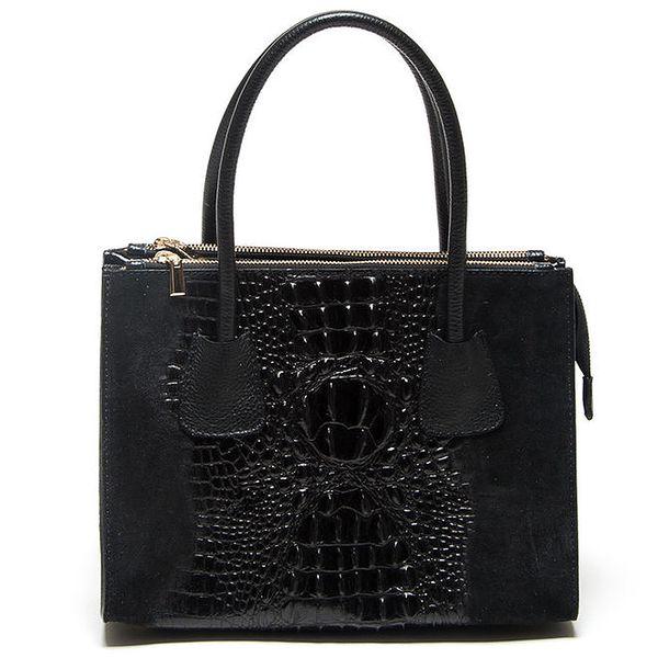 Dámská černá kabelka se vzorem krokodýlí kůže Mangotti