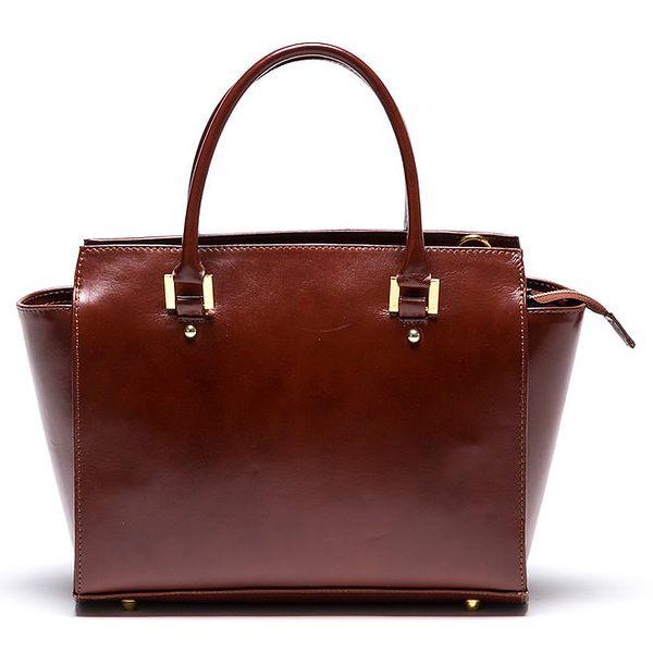 Dámská kožená hnědá kabelka se zipovou kapsičkou Mangotti
