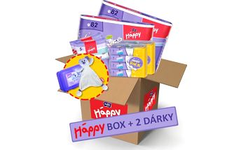 Bella Happy Start Box Mini obsahující pleny, vlhčené ubrousky a podložky.