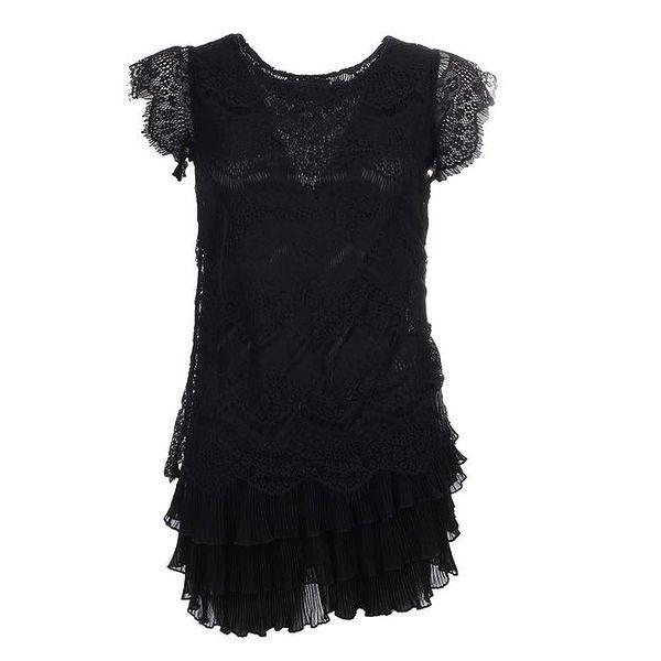 Dámské černé krajkové šaty s vrstvenou sukní Iska