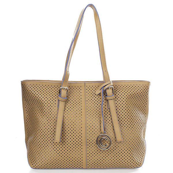 Dámská kabelka s perforací Caro Paris - velbloudí barva