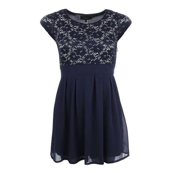 Dámské tmavě modré šaty s krajkovým živůtkem Iska