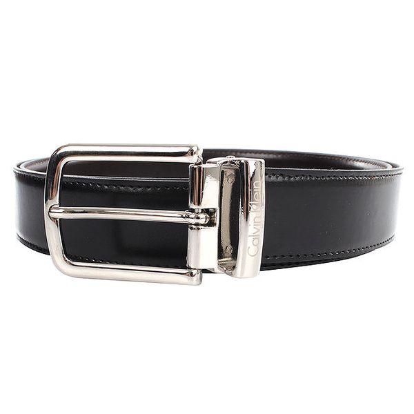Pánský hnědo-černý oboustranný pásek s lesklou sponou Calvin Klein