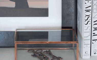 Skleněný box Copper Trinket, 12x18 cm