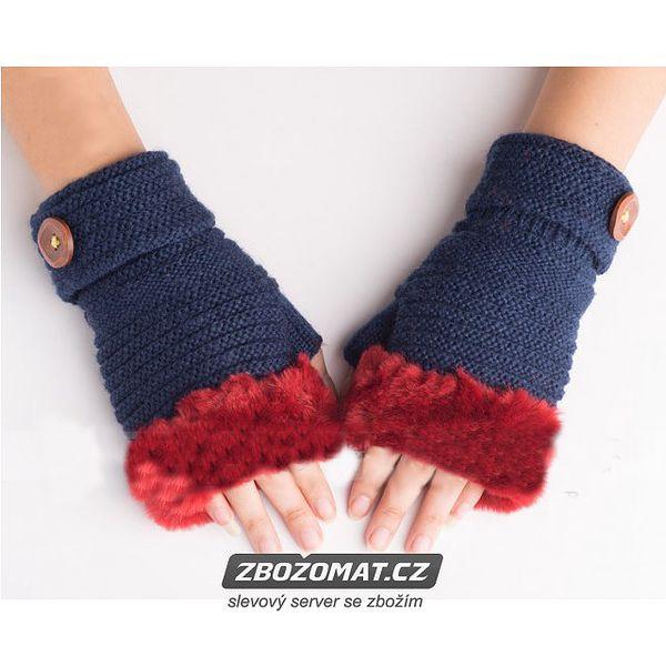 Pletené půlprstové rukavice s kožíškem!