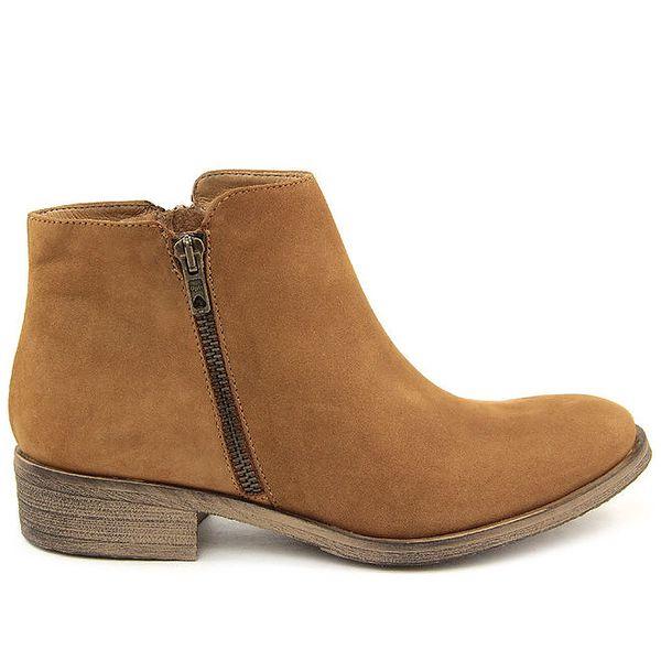 Dámské světle hnědé kotníkové boty z kůže Giorgio Picino