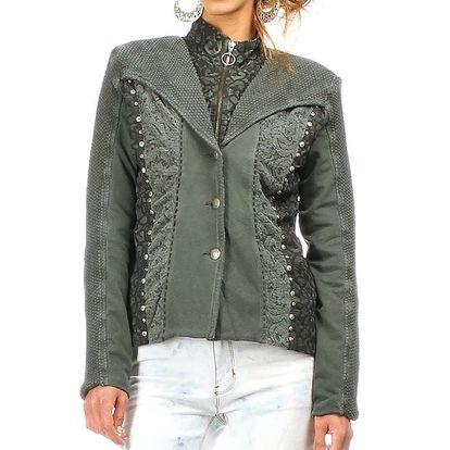 Dámská khaki bunda s dekorativními cvočky Angels Never Die