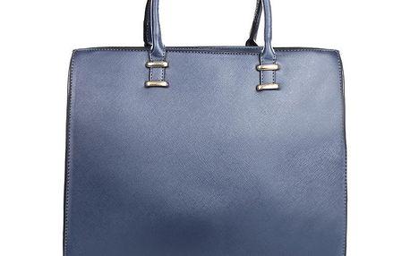 Dámská modrá kabelka se zipovým zapínáním London fashion