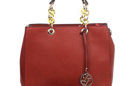 Dámská červená kabelka s kulatým přívěskem a zdobnými poutky London fashion